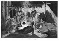 An illustration of voyageurs singing around a campfire.