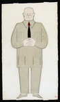 In this costume design for Crimson Island, the monotony of the bespectacled male figure's dull, tan uniform is broken only by a black tie striped red at the top.
