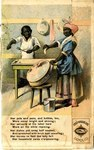 Page one depicts two black servants, a mother and son, unsuccessfully attempting to clean pots and pans for the household.