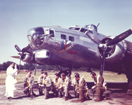 The crew of the B-17 Fifinella pray with their chaplain before heading on a combat mission.
