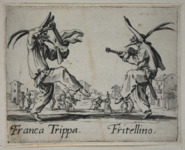 Etching foreground: two male figures in half masks face each other, one holding a wooden sword and cape (left), the other playing a guitar (right). Etching background: a man bows to kiss a woman's hand.