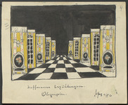 In this scene design for Tales of Hoffmann, the black-and-white checkerboard floor and successive side wings (yellow wall sections with furniture and windows painted on them) together create an impression of sharply forced perspective.
