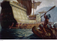 A painting depicting Champlain's arrival. A large ship greeted by several canoes.