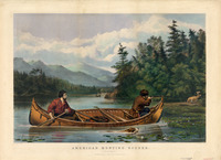 A lithograph print in color of two men in a birch-bark canoe. One man is aiming his gun at a buck on the shore as a dog swims along side the canoe.