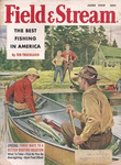 A 1959 cover of Field & Stream, featuring several men canoeing and fishing.