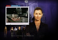 "A screen grab from the Six Degrees website that shows a small screen with a partially played ""character video"" next to an image of a woman dressed in business clothes, arms crossed, with a brown pontyail, looking into the camera. The Six Degrees logo is at the top of the image, following by the tagline ""Everyone is connected."" At the bottom of the image there are 5 other actors, two women and three men, and the words ""Make another connection."""