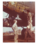 A crewman adds another mission marker to the combat tally on the fuselage of the B-17 Idiots' Delight.