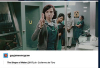 A GIF set of 5 horizontal media images depicting scenes from the film The Shape of Water