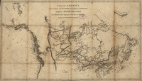 A map of Alexander Mackenzie's routes from Montreal to Fort Chipewyan and then onward to the Arctic Ocean in 1789 and to the Pacific Ocean in 1793. Published by Mackenzie in 1801.