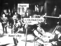 "Figure 16. An image of the entire Miles Davis ensemble annotated to show different regions of the performance space: the ""Batter's Box,"" where the current soloist stands; the ""On Deck Circle,"" where the next soloist waits; and the ""Dugout,"" where musicians who are not currently playing stand and observe."