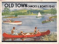 A cover of an Old Town Canoe Catalogue is a colorful illustration of various men and women enjoying a sunny day on a lake by canoeing, fishing, sailing, and riding in a motor boat.