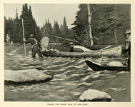 A black and white illustration of three men hauling a canoe containing the body of a killed moose to camp.