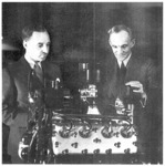Above. Edsel and Henry Ford with the 1935 V-8 engine