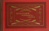 A cover of a catalogue for Rushton's Rowboats & Canoes. The text and decoration is embossed in gold on top of a vibrant red background.