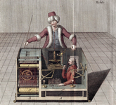 From book that tried to explain the illusions behind the Kempelen chess playing automaton (known as the Turk) after making reconstructions of the device.