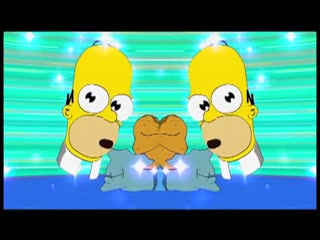 A video trailer for The Simpsons Game, parodying Pokémon and other Japanese games, depicting Homer and Lisa Simpson in a Japanese cartoon-style land, fighting various enemies.