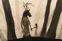 A digital painting of a tall Forest God with a moose's head, antlers, red eyes and flowing clothes, holding hands with a slight girl with long hair.