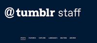 A single post of the Tumblr Staff logo, in blue