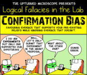 A comic strip illustration that shows two characters demonstrated confirmation bias.