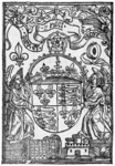 The representation of the imperial arms in A Copye of a Letter contayning certayne newes, and the Articles or requestes of the Devonshyre & Cornyshe rebelles, printed by John Day and William Seres in 1549. Day borrowed the block from the king's printer Richard Grafton, who had used it in 1547 in James Henrisoun's Exhortation to the Scotts. The block appears to predate the break from Rome (it features Catherine of Aragon's symbol of the pomegranate), and it may have encouraged Day to produce his own, more sophisticated representation of Edward's imperial kingship in 1549.