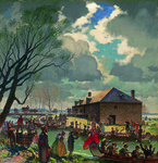 A painting of HBC employees leaving. A crowd waves at them from the shore. A building is in the background.