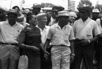 "Ralph Abernathy, Coretta Scott King, Martin Luther King Jr., Floyd McKissick and others participating in the ""March Against Fear"" in Mississippi, June 1966."