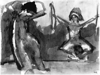 Abstract watercolor painting in which the Wigman figure dances while another figure, Palucca, plays percussive instruments. Wigman dances with arms over her head and faces downward; Palucca's arms are stretched starkly outward with legs bent in a diamond shape and feet together. Palucca holds instruments in both hands. Both figures are defined by thick lines of watercolor, some washes to indicate shadow, and some white space. Another line shows the floor with background of green washes above and below.