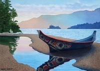 A watercolor painting of a painted dugout canoe on a beach.
