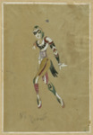 This costume design for one of Alexander Rumnev's characters gives a clear sense of his lithe, supple figure while also showing how the production's costumes captured the plasticity and color palette of the set.