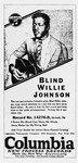 An advertisement by Columbia Records for Blind Willie Johnson, Record No. 14276-D, with the songs listed: I Know His Blood Can Make Me Whole, and Jesus Make Up My Dying Bed.