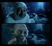 A split-screen image, the top of which features actor Andy Serkis crouching in front of a rocky background wearing a white body suit with his face exposed in a Gollum-esque expression. The bottom image shows the CGI-created Gollum character who looks remarkably like Andy Serkis.