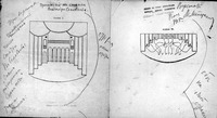 This image shows two drawings, one of a stage with multiple curtained entrances and side balconies (left), the other diagramming how actors were to move across the forestage in relation to one another (right). They are annotated with notes in Meyerhold's hand that indicate that both illustrations were to appear together on the page following Soloviev's article.