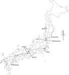 A period map of Japan, with a line and dots indicating a path of travel and locations.