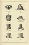 "A black and white illustration of eight different styles of hats including the, ""'Continental' Cocked Hat, Army, The Wellington, The D'Orsay, 'Navy' Cocked Hat, Clerical, The Paris Beau, and The Regent."" The text at the bottom of the page reads, ""Modifications of the Beaver Hat."""