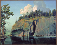 An oil painting of four canoes traveling past Picture Rock.