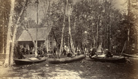 An 1881 gathering of canoeists on Canoe Island in Lake George, New York.