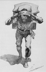 Frederic Remington's drawing of a voyageur struggling with his load illustrates the use of a tumpline across the top of his forehead to help distribute the weight more evenly. 'Tumpline' is based on the Algonquian word for line.