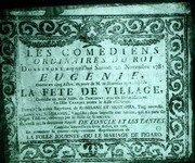 Poster from Comédie Française. The poster shown here is one of a small collection of 12 eighteenth-century posters is held at the BCF.