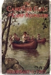 "An color illustrated book cover depicts a small group of young girls in canoes paddling up a river surrounded by rocks and trees. The girls wear matching sporting outfits. Red text on the cover reads, ""The Camp Fire Girls at Camp Keewaydin. Hildegard G. Frey."""