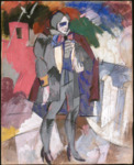 This costume design, with its background of blues, pinks, and whites, reveals the set's vivid, colliding, deliberately skewed planes. In the foreground stands an actor in gray with an enormous bowtie, his eyes replaced by dark blue smudges that stand out against his unnaturally white, painted skin. In the production, the actors wore dark blue paint around their eyes.