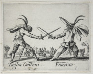 Etching foreground: two male figures wearing half masks, their hats adorned with long feathers, stand facing one another with crossed swords, one wooden, the other real. Etching background: small groups of people look on.