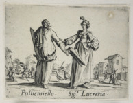 Etching foreground: a man with a half mask and wooden sword extends his hat to a woman, who has placed her hand on his elbow. Etching background: a figure, center, waves a sword while another, left, wields a cape.