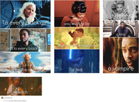 Media stills from ten different films, television shows, and music videos arranged vertically, each with a caption at the bottom of the image.