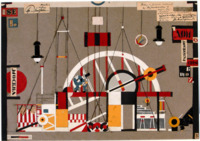 Eccentric Heartbreak House scene design in red, black, yellow, and white, created from string and cutout paper. The center of the design is dominated by a large arched structure with an actor walking along its crossbeam.