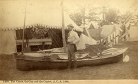 "In this photograph titled ""The Canoe, The Cup and The Captor,"" R. W. Gibson poses with the International Challenge Cup, which he won in the Rushton Vesper that he had designed, August 26, 1885."