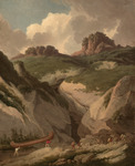 A painting of a canoe being portaged up a rocky hill.