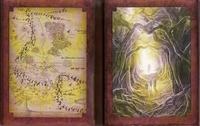A DVD box set made to look like two framed pictures, one of three cloaked travelers walking through a wooded glen towards a figure shrouded in mist and the other of a hand-drawn map featuring mountain ranges and many circuitous roads and dashed lines.
