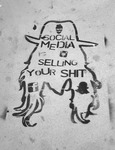 "Photograph of a city sidewalk outline-drawing of a pirate-like figure in hat and long hair with the warning words ""social media is selling your shit"""