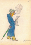 Costume sketch in profile for a grumpy, red-nosed Harlequin in a blue trenchcoat, yellow flowered trousers, striped green cap, and red plaid gloves. In one hand he clutches a newspaper, while in the other he drags a parrot-headed umbrella. The pipe he clenches between his teeth emits a huge cloud of smoke.