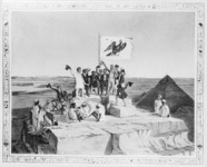 Staking a Prussian imperial claim: the Lepsius expedition celebrating the birthday of King Friedrich Wilhelm IV atop the Great Pyramid in 1842. Engraving by Georg Frey, reproduced in Bernhard Lepsius, Das Haus Lepsius (Berlin, 1933), facing p. 80.